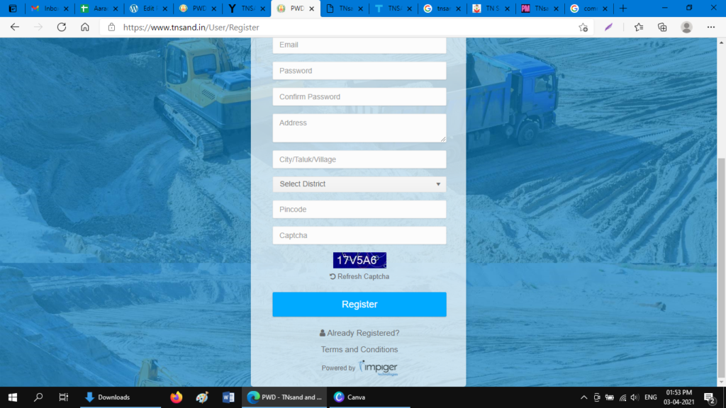 click register to confirm registration for lorry owners