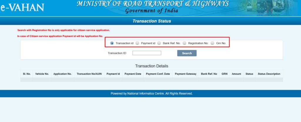Vahan Seva Payment Transcation Details