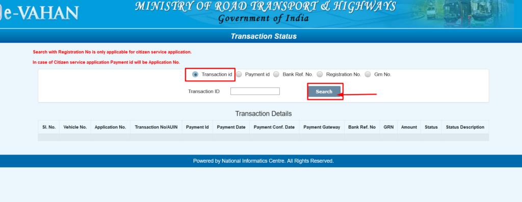 Vahan Seva Transaction Status