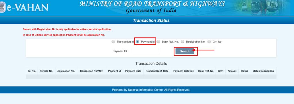 Vahan Payment Transaction Report