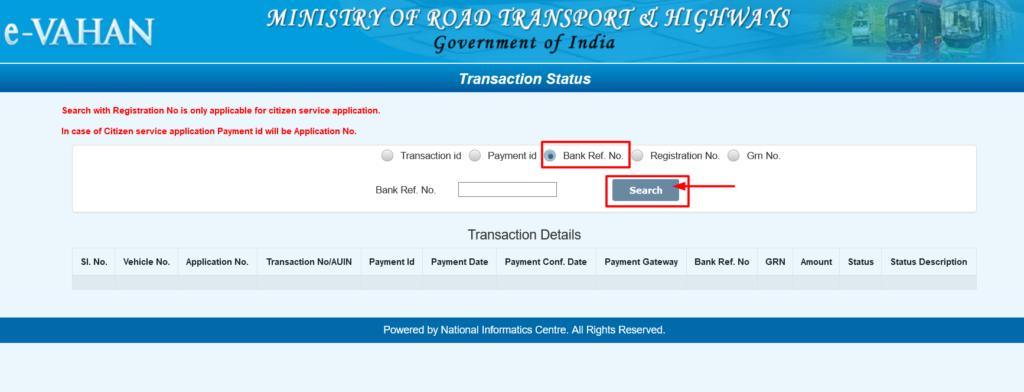 Vahan Seva Transaction Status bank ref