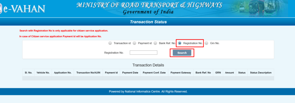 Vahan Seva Payment details Registration no