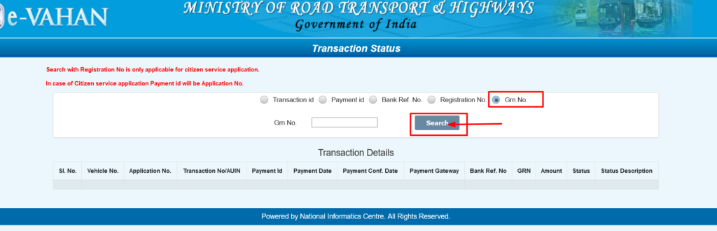 Vahan Seva Payment Status GM no