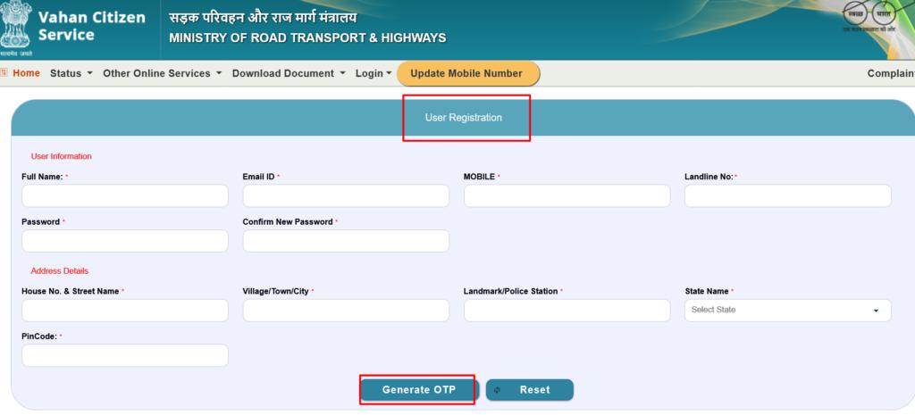 Vahan Sewa Register new Login