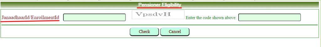 Rajasthan security pension eligiblity through Janaadhar