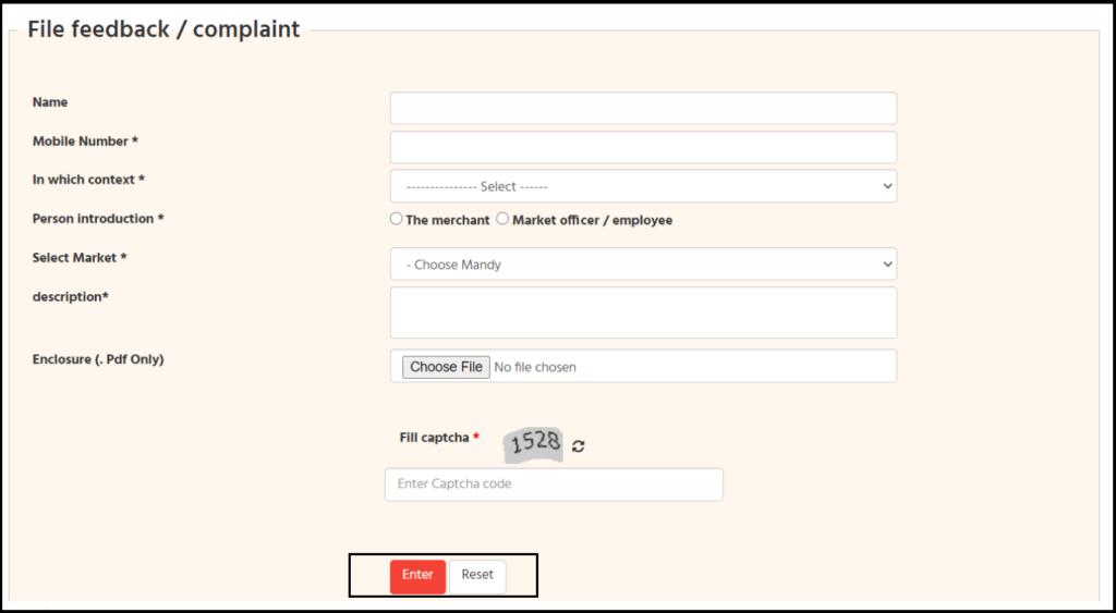 feedback & complaint form of mandi portal
