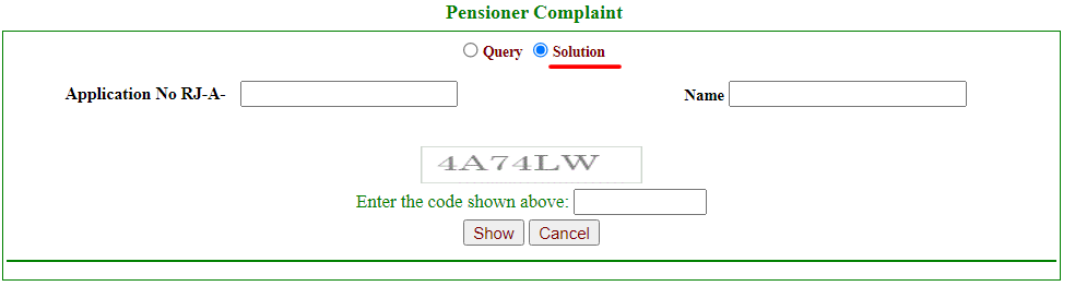 Rajasthan social security pensioner feedback section
