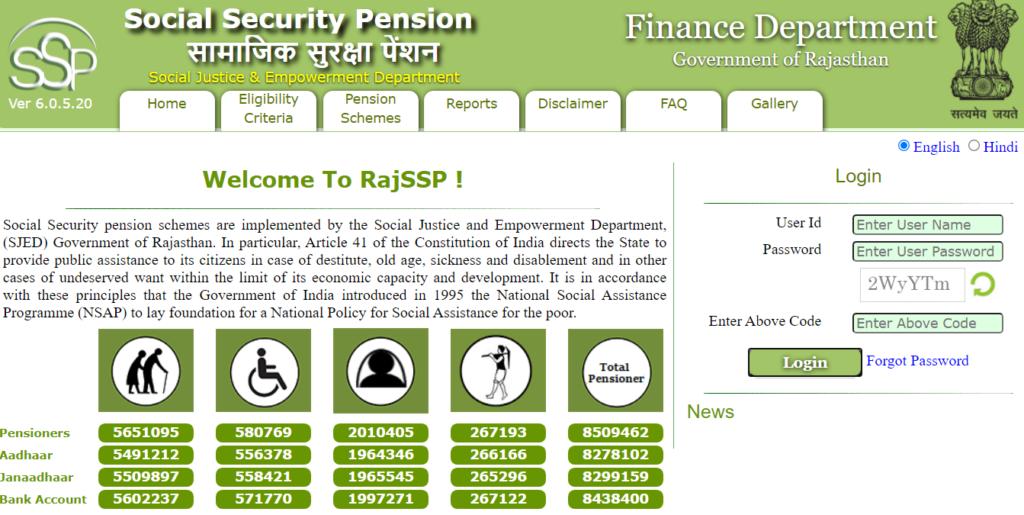 Rajasthan social security homepage