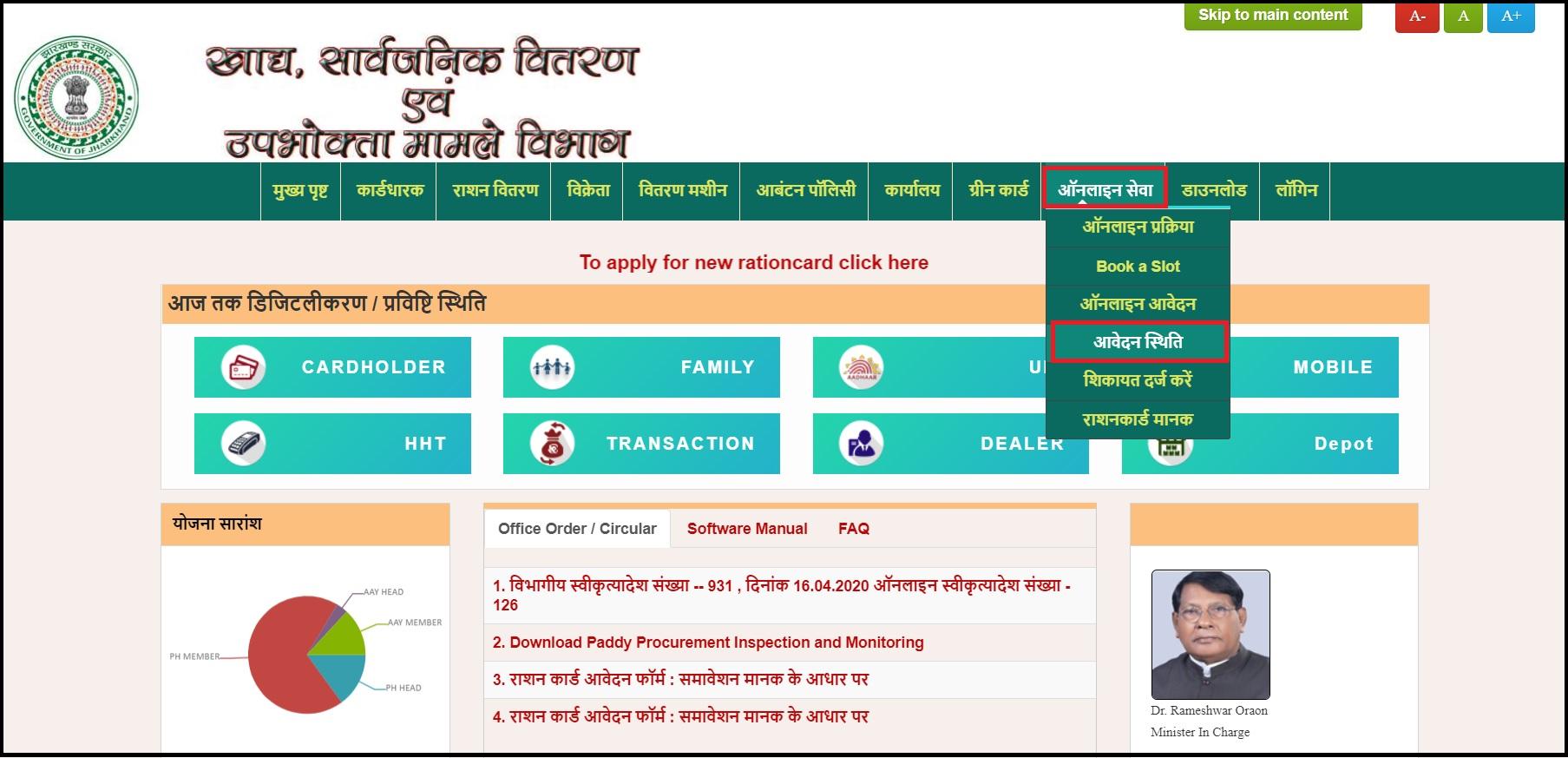 jharkhand ration card online aavedan