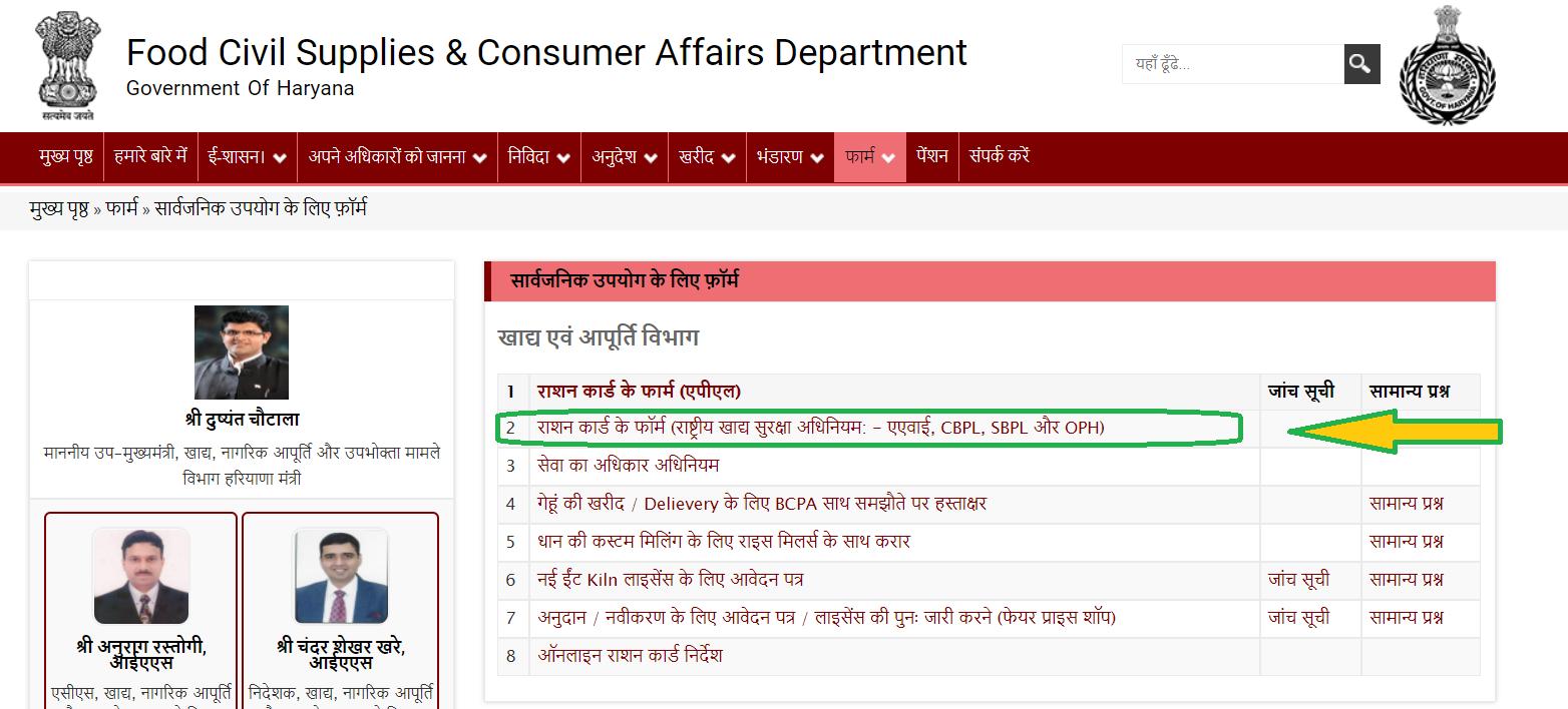 haryana ration card apply