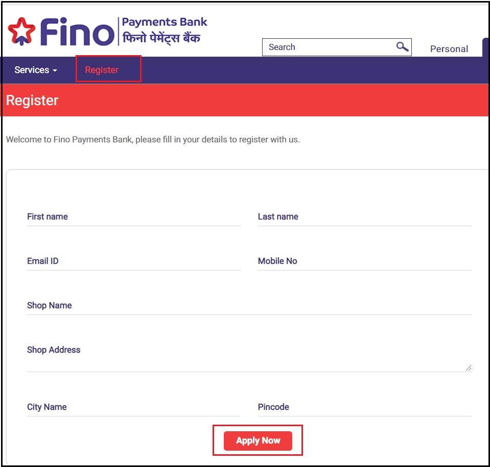 Fino CSP Bankmitra Apply online