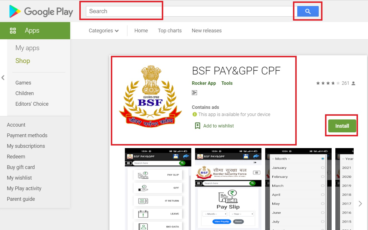 BSF pay slip app download